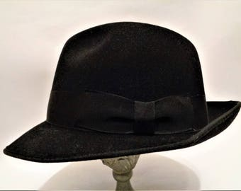 Vintage 60's Black Real Fur Felt Fedora Trilby Hat, Feiner Haarhut, EU 57 UK 7 US 7 1/8, Made in Germany