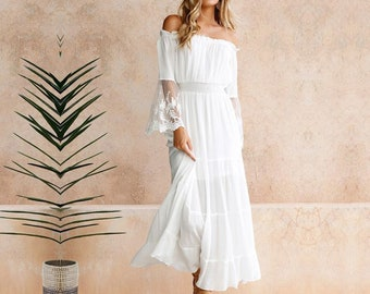 d29a17925622 Long Dress Women Sexy Off the Shoulder Lace Maxi Dresses Patchwork Flare  Sleeve Elegant Evening Party Vestidos Boho Ladies White