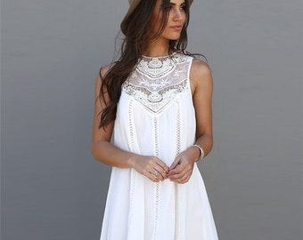 84adb9f6788b Summer Dresses 2018 -Summer White Lace Mini Party Dresses  Sexy Club Casual  Vintage Beach Sun Dress