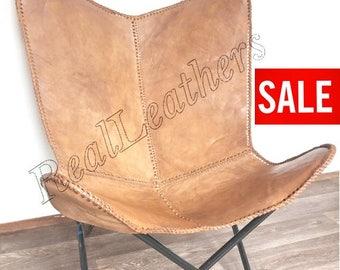 Leather butterfly hand made chair -Light Brown