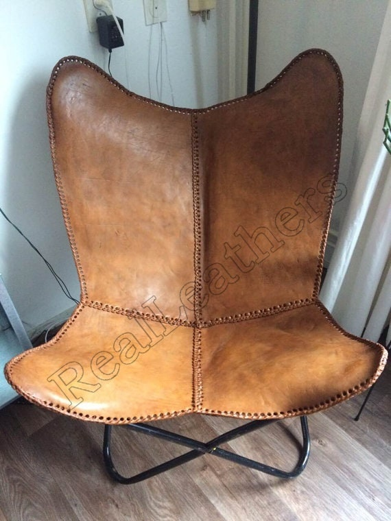 Schmetterling handgemachte Stuhl Tan Leder Farbe / Medium | Etsy