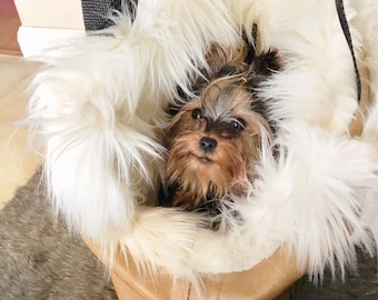 Custom handmade Faux Vintage leather Furry DEMI Fur Dog Purse Bag Carrier LUXE Shag Luxury Tote Removable solid bottom Puppy Yorkie 0-7lbs