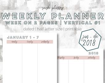 The Weekly Vertical Planner V1   January - December 2018   Half Letter Size   Printable Planner   Day Planner   Goal Planner   OG Style