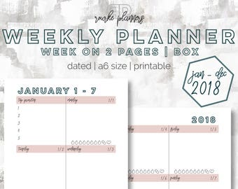 The Weekly Box Planner   January - December 2018   A6 Size   Printable Planner   Goal Planner   Habit Tracker
