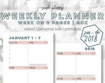 The Weekly Box Planner   January - December 2018   Personal Size   Printable Planner   Goal Planner   Habit Tracker