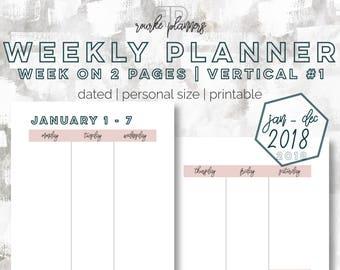 The Weekly Vertical Planner V1   January - December 2018   Personal Size   Printable Planner   Day Planner   Goal Planner   OG Style