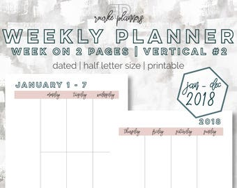 The Weekly Planner Vertical #2   January - December 2018   Half Letter Size   Printable Planner   Day Planner   Goal Planner   OG Style