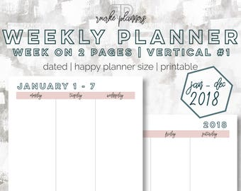 The Weekly Vertical Planner V1   January - December 2018   Happy Planner Size   Printable Planner   Day Planner   Goal Planner   OG Style