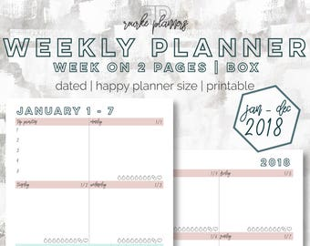 The Weekly Box Planner   January - December 2018   Happy Planner Size   Printable Planner   Goal Planner   Habit Tracker