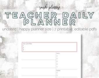 Teacher Daily Planner | Undated + Editable | Happy Planner Size | Day Planner | Goal + Life Planner | Printable Planner | Eowyn Collection