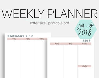The Weekly Vertical Planner #1   JANUARY - DECEMBER 2018   Letter Size   Printable Planner   Day Planner   Goal Planner   Eowyn Collection