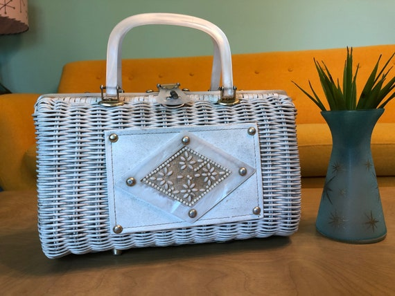 Vintage White Wicker & Lucite Handled Purse Made i