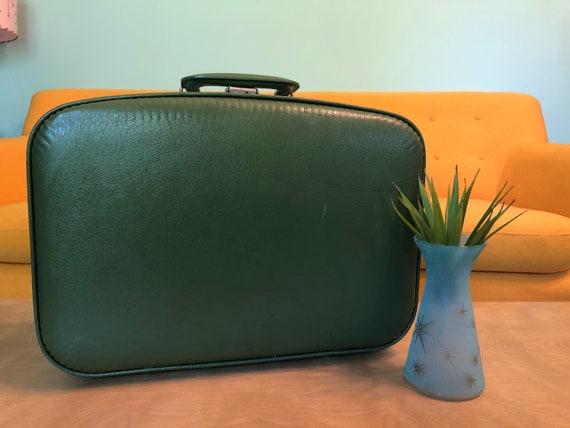 Vintage Avocado Green Suitcase Excellent Condition
