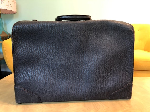Vintage 1930's 1940's Brown Leather? Suitcase with