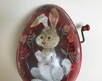Vintage 1953 Mattel Bunny Rabbit Tin Litho music box toy wind-up