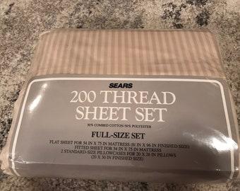 Vintage 1993 Sears 200 Thread Count Full Sheet Set Khaki White Stripes