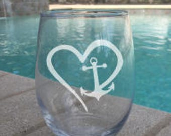SET OF 2 Stemless Anchor and Heart Stemless Wine Glasses