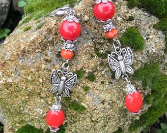 Coral earrings Red earrings Butterfly Earrings Evening jewelery Party earrings Red jewelry Handmade Jewelry Long Earrings Fashion Jewellery