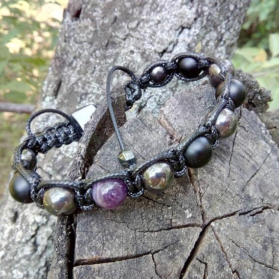 Braided set of bracelets for him Men bracelet set Hematite Norwegian labradorite natural stone jewelry