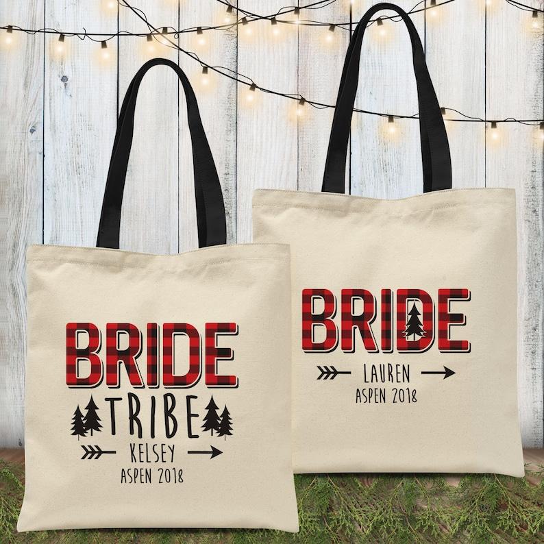 Plaid Bride Tribe Flannel Shirts Bridesmaid Button Downs Winter Bachelorette Party