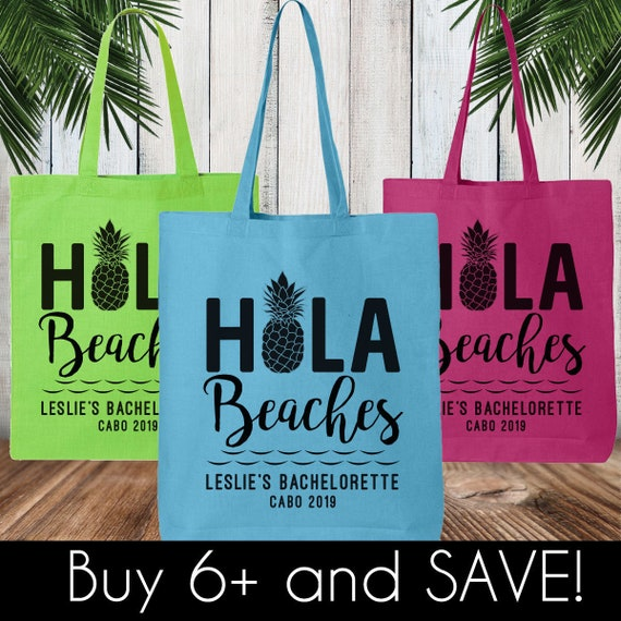 Hola Beaches Cactus Tote   Pool Bag  Beach Bag  Bachelorette Party  Girls Weekend  Destination Wedding  Custom