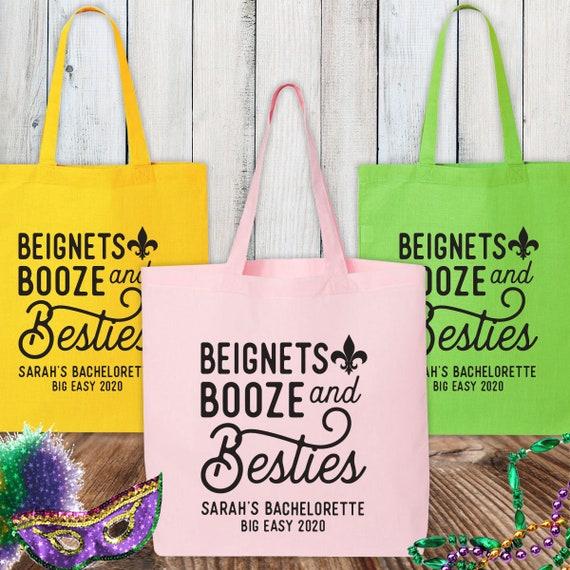 Bachelorette Party Bag New Orleans Personalized Bachelorette Party Tote Bag  Custom NOLA Fleur de Lis Cotton Bag  Mardi Gras Birthday