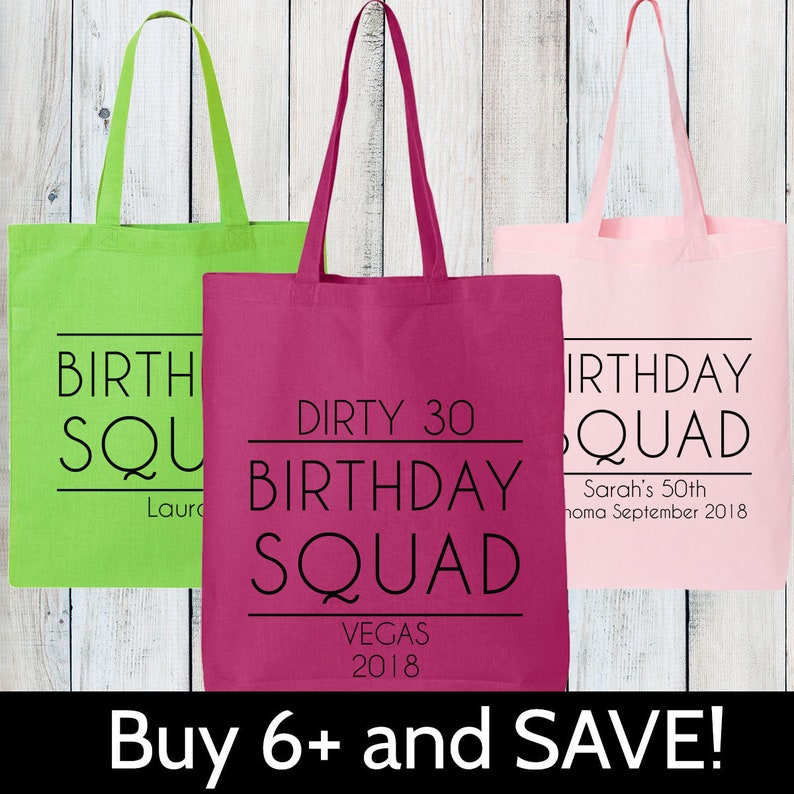 Custom Birthday Squad Tote Bags Personalized Matching Trip Gift Girls Getaway Nashville New Orleans Canvas City