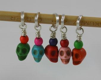 SALE! Knitting Stitch Markers, Fiesta Skulls