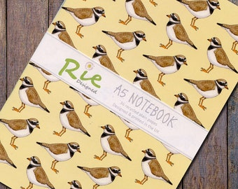 Ringed Plover Notebook A5 Recycled Plain Paper Seabird Wader Journal Jotter Notebook Note Book