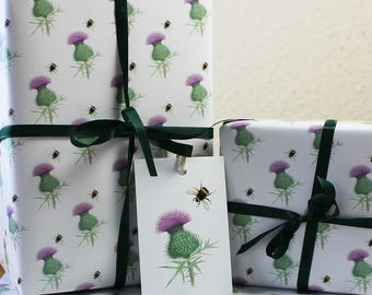 Thistle Wrapping Paper British Scottish Wild Flower and Bumblebee Gift Wrap + Tags Full Sheets 50x70cm