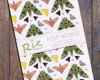 British Moths Notebook A6 Recycled Plain Paper Journal Jotter Notebook Sketch Butterfly Pocket Lepidopteras Note Book