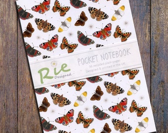 British Butterflies Notebook A6 Recycled Plain Paper Journal Jotter Notebook Sketch Butterfly Pocket Lepidoptera Note Book