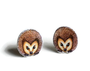 Hedgehog Stud Earrings, Hedgehog Face Earrings, Woodland Animal Studs,  Nature, Wildlife, Jewellery Gift,