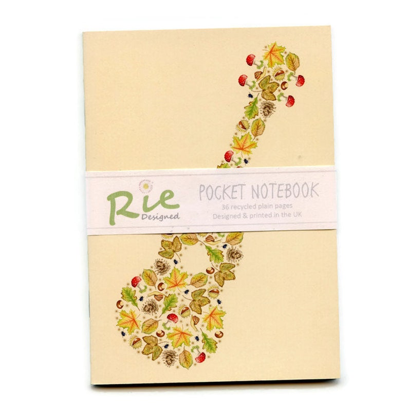 Floral Ukulele Notebook A6 Recycled Plain Paper Journal Jotter Notebook Sketch Musicians Music Pocket Note Book Nature