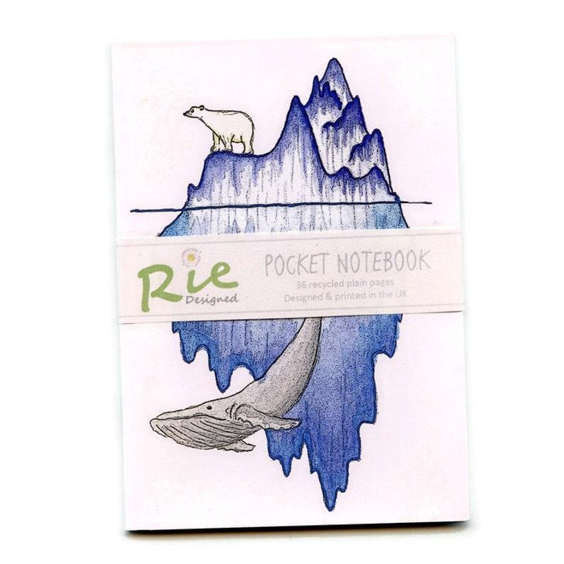 Iceberg Whale /& Polar Bear Notebook A6 Recycled Plain Paper Journal Jotter Notebook Sketch Pocket Note Book