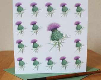 Thistle Card, Scottish Thistle Square Blank Greetings Card, Ideal Birthday, Anniversary, Thank You Card, Notecard