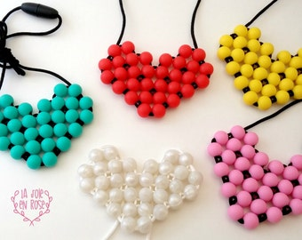 Heart Teething Necklace / Handwoven Heart / Food Grade Silicone Bead / Silicone Necklace / Silicone Pendants Heart / Gift Idea Shower / Love