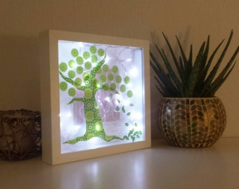 Unique Light Box, New Home Whimsical Tree Shadow Box, Statement Lighting, Spring Trends, Nursery Night Light, Wall Lamp, Special Gift mum