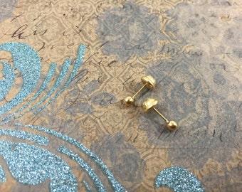 18k yellow gold ball earrings, Gold Baby Studs, Newborn tiny studs, 18k Threaded Studs, Infant gold Earrings