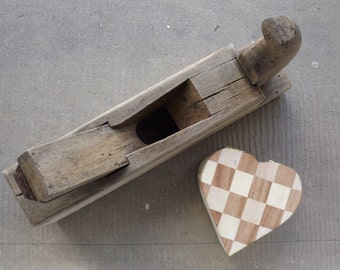 Made in France vintage oak hand plane / 1930 Carpenter's tool / tool numbered / old tool / decor industrial
