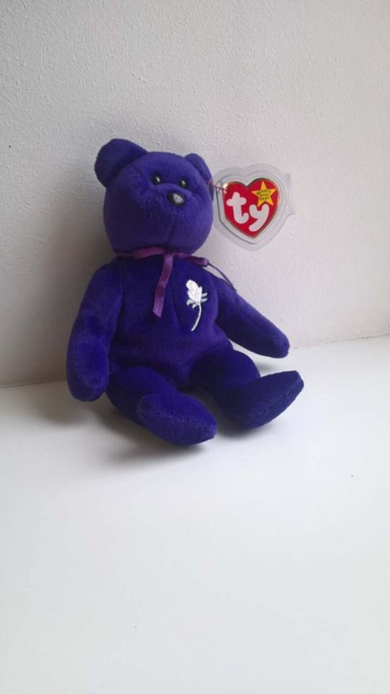fe8a77021ca 1997 TY Princess Diana Beanie Baby FIRST ISSUE Purple Bear