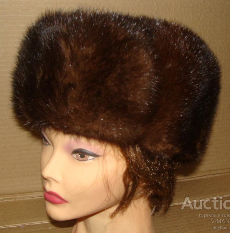 652fd926e Vintage brown Natural MINK FUR Hat 70's luxurious rich glamorous women's  fur Turban Wrap Soviet style USSR 52cm /20'' New old stock!