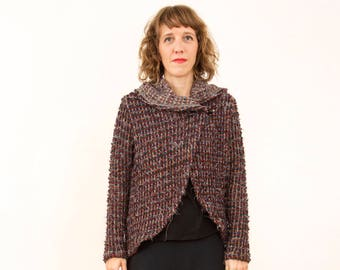 Valley jacket, wool and fibres, can be used open or closed with a needle or brooch, limited edition, made in Barcelona