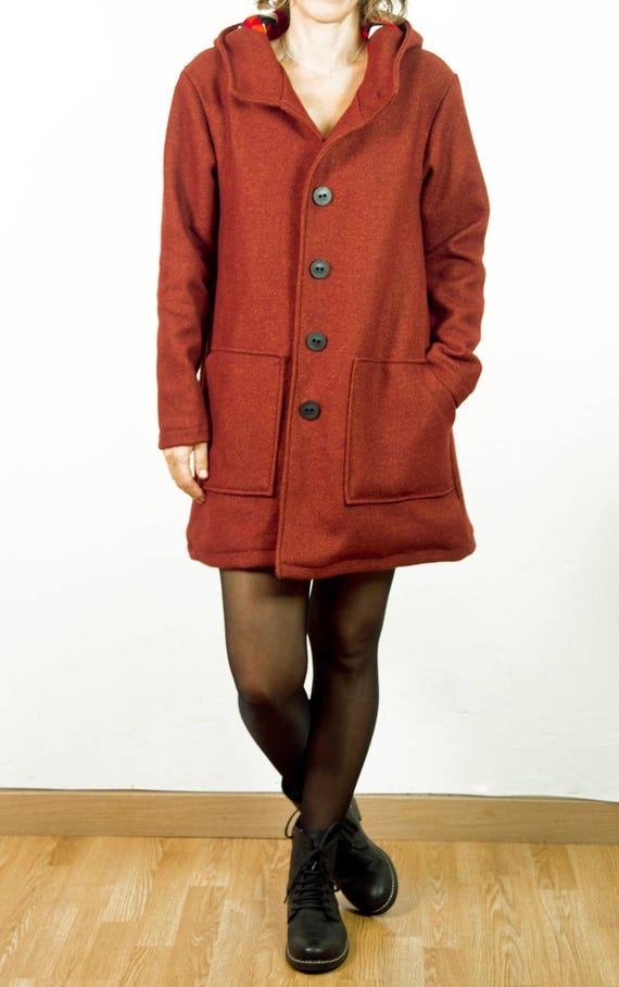 hood limited Barcelona buttons Brick with lining coat edition and and very and in made light with pockets twqpCAxqZ