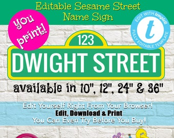 "Personalized Editable Sesame Street Name Sign Printable, Sesame Street Customized Name Sign, Sesame Street Party Printable, 10"",12"", 24"",36"""