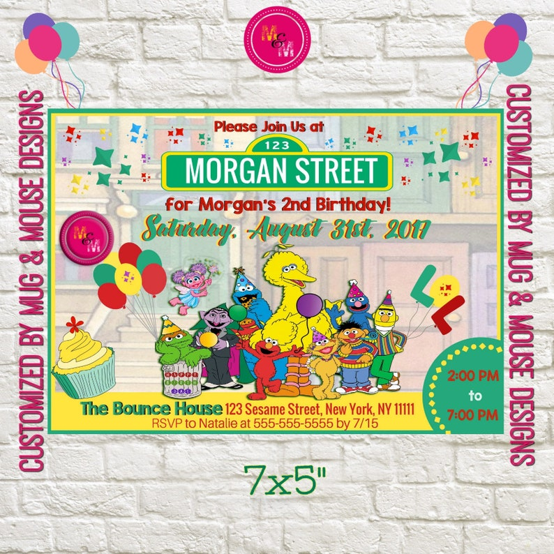 Sesame Street Birthday Invitation Printable Personalized
