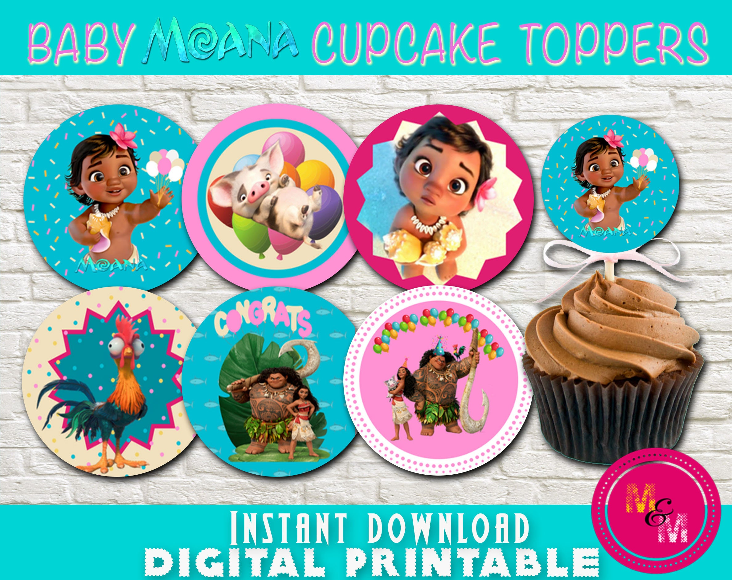 Baby Moana Birthday Cupcake Toppers Printable Instant | Etsy