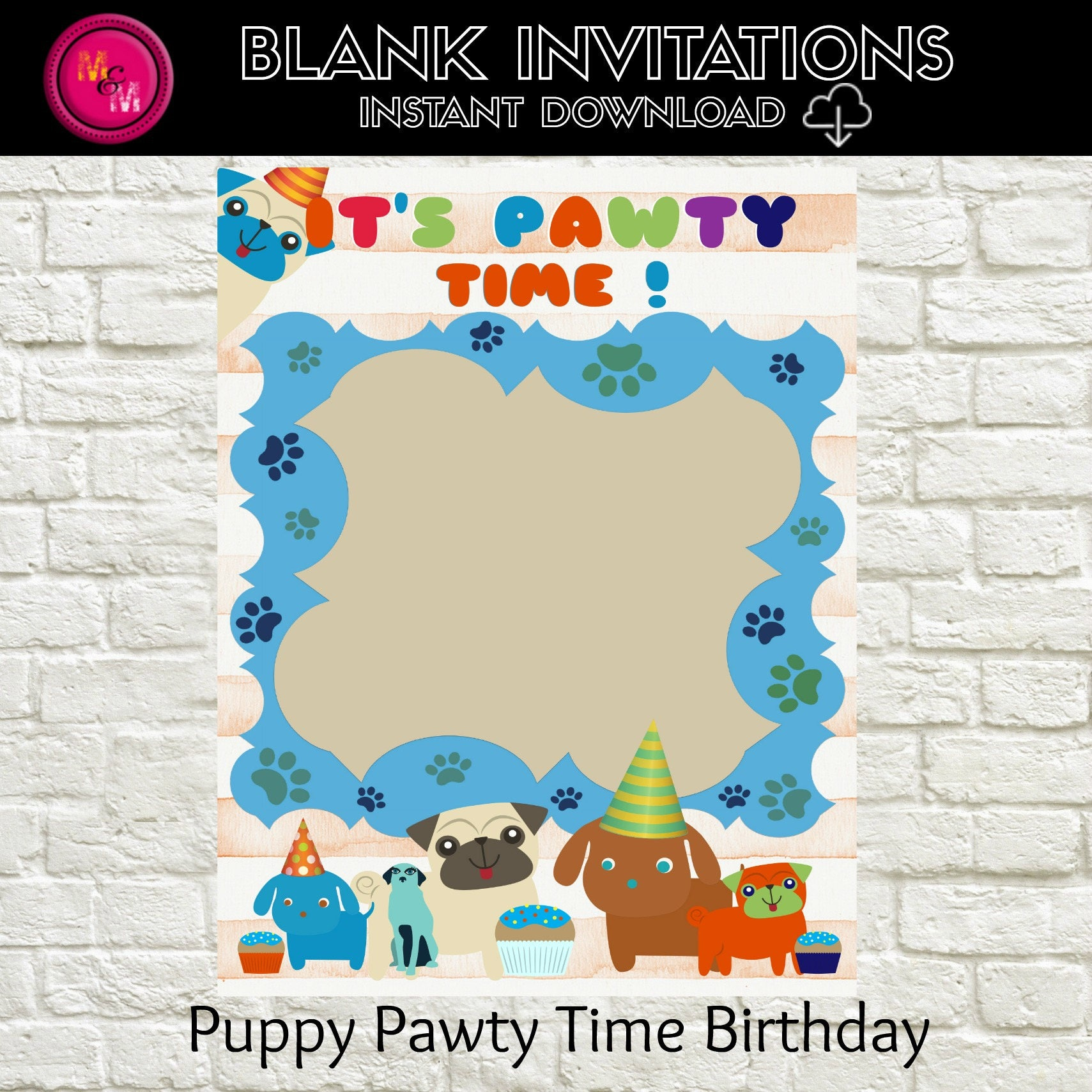Puppy Birthday Invitation Blank-Instant Download Template | Etsy
