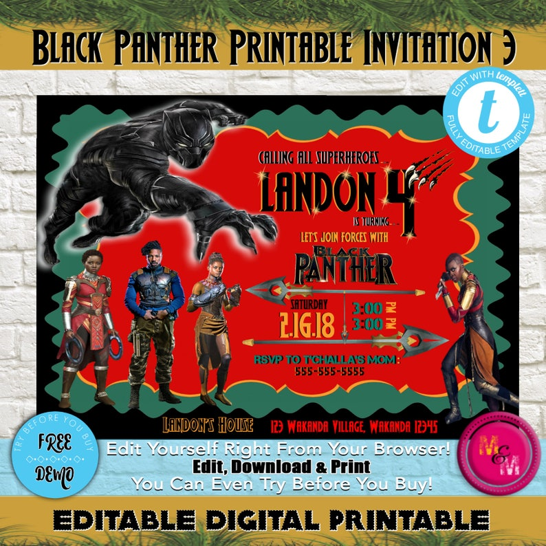Editable Black Panther Birthday Party Invitation Printable DIY Print At Home Invite Edit With Templett Marvelblackpanther