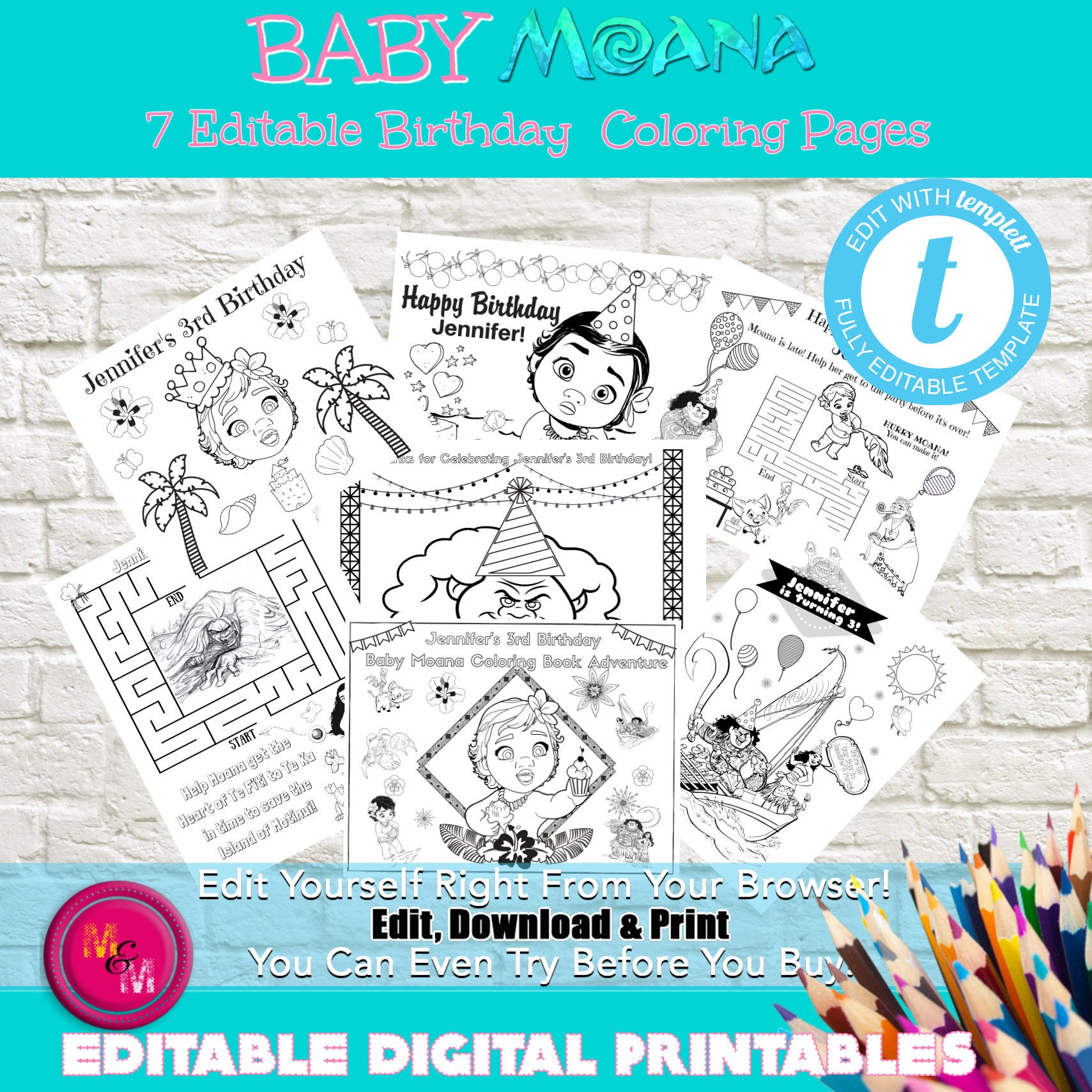 Editable Baby Moana Birthday Party Coloring pages Baby Moana